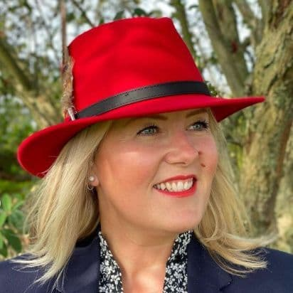 Red Fedora Hat with Pheasant Feather Brooch - Taynton